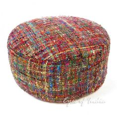 """22"""" Colorful Decorative Round Pouffe Ottoman Pouf Cover from Eyes of India, Inc.. #pouf #ottoman #handmade #round."""