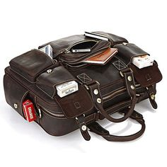 VINTAGE HANDMADE GENUINE CRAZY HORSE LEATHER BUSINESS TRAVEL BAG /DUFFLE BAG/LUGGAGE BAG z89