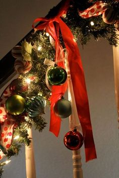 Christmas Garland: attach it to your banister with a fabric ribbon dangled with ornaments!