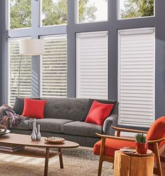 """Control the sunlight in your living space with Sheer Shades. """"Pictured: Sheer Shades with Continuous-Loop Lift: Grafton Flitter, Silver Screen Sheer Shades, Horizontal Blinds, Sheer Blinds, Dream Bedroom, Floor Rugs, My Room, Window Treatments, Living Spaces, Bedroom Decor"""