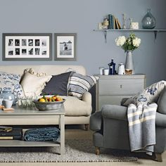 Blue grey living room   For the Home   Pinterest   Grey living rooms     Country style blue and cream living room   Mix and match living room