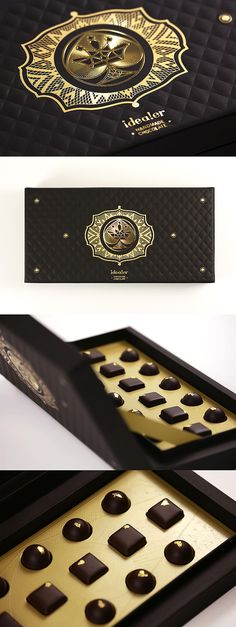 Polytrade – Deluxe Packaging for Hand Made Chocolate.  Concept of Poker was created to 4 sets of packaging to demonstrate Polytrades' paper. According to the spade sign, a royal dynasty concept was created. In order to manifest the deluxe and grand, a golden emblem of spade was sealed on an embossing chocolate box. Inside the box, a designed logo was embossed in a food-grade golden paper for which containing the gold foil chocolates.