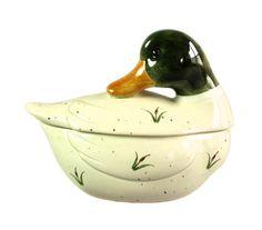 Otagiri Mallard Duck Condiment Jar Dish Ceramic Vintage Hand