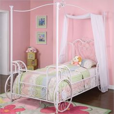 Twin size Cinderella Inspired Canopy Bed in Antique White Metal Finish