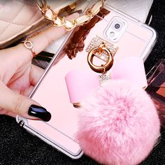 Fur Ball Bowknot Soft TPU Mirror Cases for Samsung J3 J5 J7 2016 A5 A7 A8 Note 3 4 5 7 S4 S5 S7 S6 Edge Plus Phone Covers