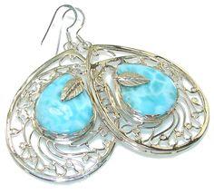 $129.85 Big! Paradise Style!! Blue Larimar Sterling Silver earrings at www.SilverRushStyle.com #earrings #handmade #jewelry #silver #larimar