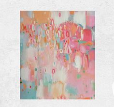Coral and Mint Abstract Nursery Art Pink and Teal Abstract
