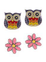 Owls & Daisies Stud Earrings Set