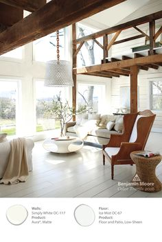 Benjamin Moore's Color of the Year 2016, 'Simply White,' allows for the delicate sunlight to flood this room and let the raw wood accents glow. The floor is done in our 'Ice Mist' to add a slight hue. #ColorTrends2016