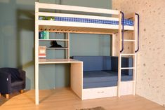 Thuka Hit hoogslaper (niet deelbaar) met zitje, bureau en uittrekbaar logeerbed / Thuka Hit high bed (not divisible) with sitting area, desk and pull-out guest bed Home Bedroom, Kids Bedroom, Single Bunk Bed, Bunk Bed With Desk, Bedroom Decorating Tips, High Beds, Boys Room Design, Cute Room Decor, Guest Bed