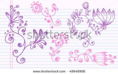 stock vector : Sketch henna Doodle Vector Illustration Flower Set