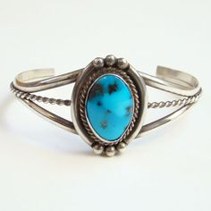 Vintage Navajo Turquoise Cuff Bracelet Sterling Silver Signed MA Strong Blue Color Native American by redroselady on Etsy