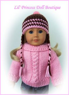 Made for American Girl Dolls, Crochet Pigtail Hat with Earflap, Braids, Handmade 18 Inch Doll Clothes by LilPrincessDollStore on Etsy