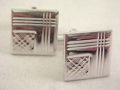 Vtg 1960s Checkered Textured Silver Tone Square Toggle Cuff Links  #Unbranded