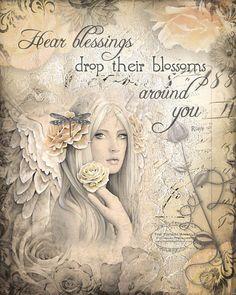 "HEAR BLESSINGS joy, happiness, healing inspirational angel art print, 8"" x 10"""
