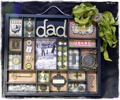 Graphic 45 A Proper Gentleman collection vintage scrapbook layout inspirations Shadow Box Memory, Shadow Box Art, Fun Crafts, Paper Crafts, Photo Arrangement, Vintage Scrapbook, Fathers Day Cards, Scrapbooking Layouts, Altered Art