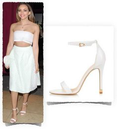 Celebrity Style Trend - white sandals and heels - Celebrity Bargain Buy Jade Thirlwall was seen with with friends wearing a Topshop Ruby Strappy High White Sandals ($75.00).