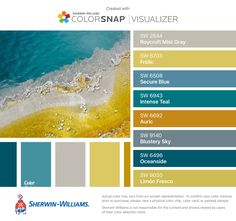I found these colors with ColorSnap® Visualizer for iPhone by Sherwin-Williams: Roycroft Mist Gray (SW 2844), Frolic (SW 6703), Secure Blue (SW 6508), Intense Teal (SW 6943), Auric (SW 6692), Blustery Sky (SW 9140), Oceanside (SW 6496), Limón Fresco (SW 9030).
