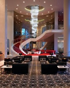 You'll find no shortage of glamour at W Hollywood, thanks to its multistory staircase, rooftop ballroom and proximity to Tinseltown's landmarks, like the Walk of Fame. Home Stairs Design, Dream Home Design, Modern House Design, Mansion Interior, Luxury Homes Interior, Home Interior Design, House Plans Mansion, Dream House Plans, Dream Mansion