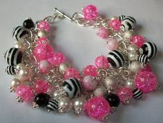 Hot Pink and Zebra Charm Bracelet | HopesandDreamsStudio - Jewelry on ArtFire