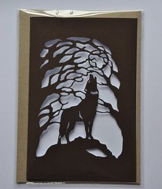 I thought that this transparent image of a howling wolf was very beautiful and a great example of this week's concept. I enjoyed how the artist illuminated the wolf and trees by making the background transparent. Artwork done by Heidi Vilkman. Kirigami, Plasma Cutter Art, Paper Art, Paper Crafts, Wolf Silhouette, Laser Cutter Projects, Howl At The Moon, Wolf Howling, Card Making Techniques