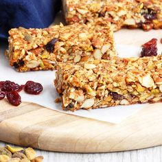 Crunchy Cherry Pistachio Paleo Granola Bars- The perfect balance of sweet, salty and super crunchy.