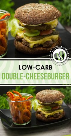 The double cheeseburger is low-carb, gluten-free and very tasty. The double cheeseburger is low-carb, gluten-free and very tasty. Low Carb Pizza, Low Carb Lunch, Low Carb Diet, Fast Food Low Carb, Low Carb Burger, Cheese Burger, Healthy Dinner Recipes, Low Carb Recipes, Diet Recipes