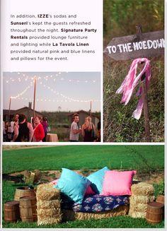 barn wedding - haybale seating
