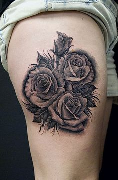 Rose Grey Tattoos On Upper Thigh