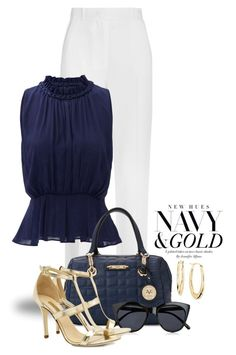 """Navy with Gold Accents 1613"" by boxthoughts ❤ liked on Polyvore featuring Givenchy, Greylin, Le Specs, Dee Keller, Blue Nile and contestentry"