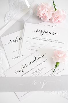 Elegant and romantic Flowing Script wedding invitations in silver gray | Shine Wedding Invitations