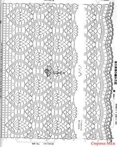 УЮТНОЕ МЕСТО ●Вязание● Crochet Diagram, Crochet Chart, Crochet Motif, Crochet Lace, Crochet Patterns, Crochet Skirts, Crochet Blouse, Pineapple Crochet, Knitting Stitches