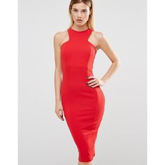 Club L Racer Front Midi Dress In Crepe ($33) ❤ liked on Polyvore featuring dresses, red, midi body conscious dress, red midi dress, bodycon dress, midi dress and calf length dresses