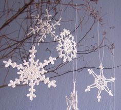 6 Lacy Silver Snowflakes Crochet Christmas ornaments by Benivision, $18.50