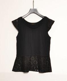 AMERICAN RAG CIE  【WOMENS】(アメリカン ラグシー ウィメンズ)のフレアレースタンク/208-AHS-L142-CT043(Tシャツ/カットソー) ブラック