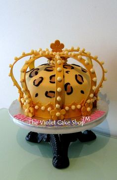 This cake I stressed over because of both the structure and the leopard print. Luckily I made the curved pieces well in advance and allowed them to dry at least one week so they were very firm. Then I sprayed them with gold lustre and allowed it. Pretty Cakes, Beautiful Cakes, Amazing Cakes, Cupcakes, Cupcake Cakes, Extreme Cakes, Crown Cake, Gourmet Cakes, Cakes Plus