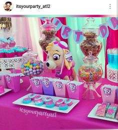 Pink Paw Patrol Birthday Party Dessert Table and Decor Birthday Party Centerpieces, Birthday Party Tables, 3rd Birthday Parties, 4th Birthday, Girl Paw Patrol Party, Paw Patrol Birthday Theme, Third Birthday Girl, Second Birthday Ideas, Paw Patrol Party Decorations