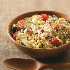 Summer Garden Couscous Salad    I made this earlier today, because it's too damned hot to cook! Surprisingly good and very refreshing! (I used frozen corn, rather than fresh)