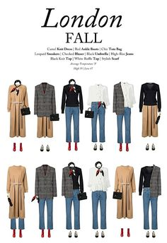 What to wear in London in the fall: A capsule wardrobe for London this fall, Fall Capsule Wardrobe, Capsule Outfits, Fashion Capsule, Mode Outfits, Fall Outfits, Fashion Outfits, Fall Travel Wardrobe, Fashion Trends, Londoner Mode