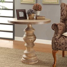 @Overstock.com - Latte Pedestal Table - Made of turned wood in taupe tones the Latte Pedestal Table offers an elegant milkwash finish. This pedestal table will is constructed out of Chinese hardwood and will add a soft and stylish accent to any space.    http://www.overstock.com/Home-Garden/Latte-Pedestal-Table/7732028/product.html?CID=214117  $189.99