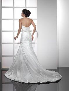 A-line Beading Court Trains Satin Wedding Dresses