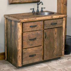 This Olde Towne, real wood bathroom vanity will take you back to a simpler, more rustic era. Small Rustic Bathrooms, Rustic Bathroom Designs, Rustic Bathroom Vanities, Bathroom Interior Design, Bathroom Styling, Bathroom Mirrors, Bathroom Cabinets, Remodel Bathroom, Bathroom Hardware