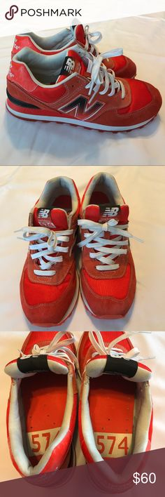 New Balance 574 men shoes size 9 New Balance 574 men shoes size 9. Very gently worn. Light signs on suede and inside white lining. See pictures for condition. New Balance Shoes Sneakers
