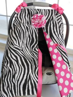 For Emily's Baby: Infant Car Seat canopy cover Cuddler - Zebra with Pink Polka Dot $45 etsy