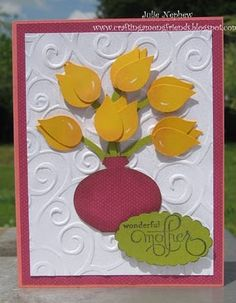 4/20/2010; Julie Nephew at 'Crafting Among Friends' blog; SU punches:  Ornament punch, 2-step Bird Punch, Scalloped Oval Punch, Large Oval punch; + EF
