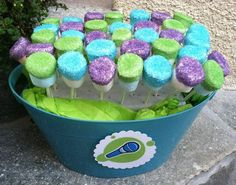 Marshmallow pops with glitter topping... I like the Buzz color scheme they chose.: