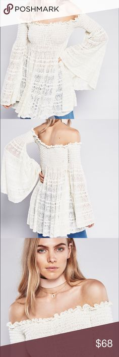 """Free People Flow Peasant Top/ Dress In an off-the-shoulder silhouette this sheer crochet tunic top features smocked elastic detailing on the bust and shoulders. Oversized flowy body and dramatic flared sleeves give this super cute style a vintage feel. Online prices at $168.   *54% Cotton *44% Nylon *1% Rubber *1% Polyester *Hand Wash Cold or Dry Clean   ✖️No trades, thank you!  🙋🏼 Bundles welcome!  🙋🏼 Reasonable best offer considered when submitted with the """"offer"""" button  👀 My…"""