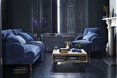 Living Room w/ Deep Dark Blue Walls, Dark Floors & Bright Blue Seating ~ It's All about Blue ~ Indigo, Cobalt