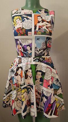Women's Hemet Comic Strip Skater Dress I Retro Vintage Rockabilly Pin Up XXS  #Hemet #dresses