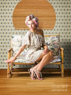 Sexy Fashion Photo Of Beautiful Girl Wearing Hair Rollers Sitting On A Vintage Floral Sofa In A Depiction Of Pinup Style Glamur by Ryan Jorgensen